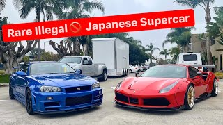 HOW TO EMBARRASS CALIFORNIA SUPERCAR OWNERS BRING AN ILLEGAL R34 GTR VSPEC II ...