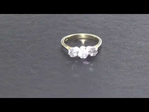 1.41ct Diamond trilogy ring 18ct gold size P certificate hallmarked