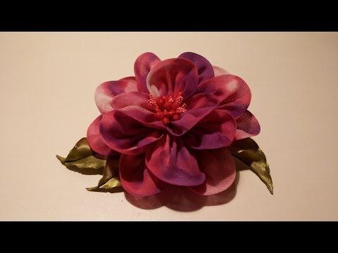 How to make fabric flowers:Flower made of chiffon tutorial/Цветы из ткани:цветок из шифона