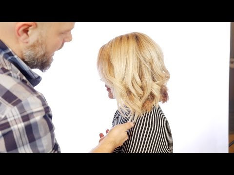 How to Cut a Layered Angled Bob with Waves - TheSalonGuy