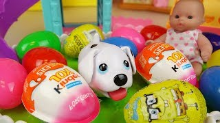 Baby doll and pet dog park surprise eggs toys play