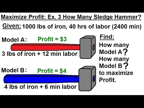 Business Math - Linear Programming - General Sol : Optimization (5 of 6) Max. Profit: Sledge Hammer