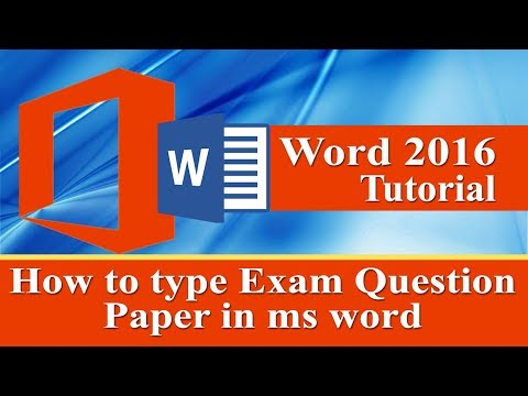 How to type Exam question paper in ms word 2016