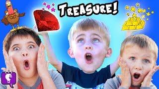 GOLD TREASURE HUNT! RUBY GEMS, Scavenger Hunt Surprise! Precious Stones FUN HobbyKidsTV