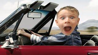вредные детки - Макс на машине вылетел с дороги - отбуксировал машину - видео для детей