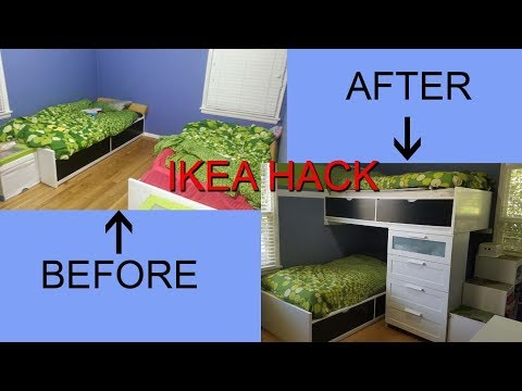 IKEA Hack, Single Beds Turn Into a Modern Bunk Bed