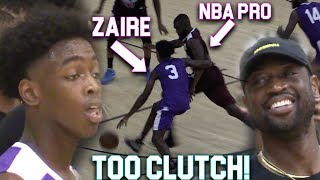 """Zaire Wade GOES CLUTCH VS NBA PLAYERS InFront of D-Wade In MIAMI PRO AM! """"Young Flash"""""""