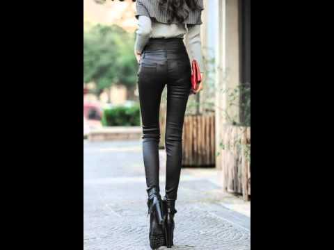 High waist skinny leather pants, slim at the end of foot pants.avi