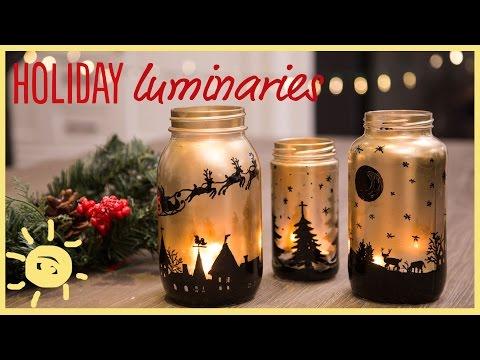 DIY   Holiday Mason Jar Luminaries