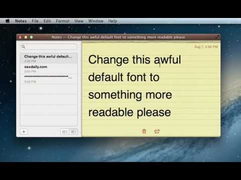 Change the Default Font of Notes App in Mac OS X Mountain Lion