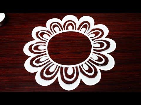 simple freehand flower rangoli designs - latest kolam without dots - rangavalli - easy muggulu