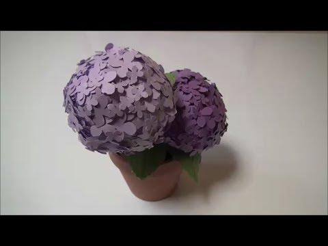 (ペーパーフラワー)小さくて可愛い紫陽花の鉢植えの作り方【DIY】(Paper Flower) Potted plants of small and cute hydrangea