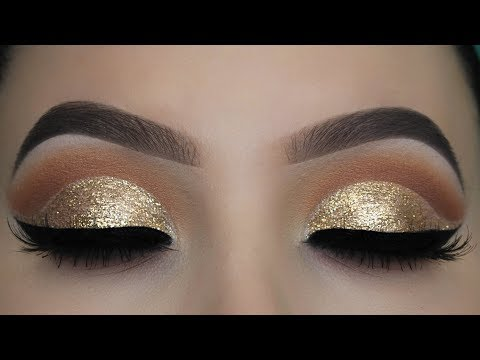 Crystal Gold Glitter Eye Makeup Tutorial