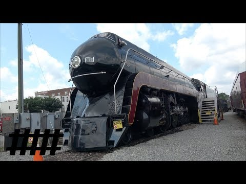 Walking by RR Equipment at The Roanoke Virginia Museum of Transportation with Steam Trains