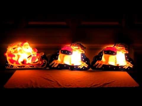 VINTAGE 1940's LA GOODMAN LIGHTED SANTA  & REINDEER 3D CHRISTMAS DECORATION