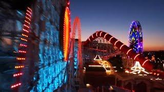 Incredicoaster nighttime/daytime comparison FULL POV in Pixar Pier at Disneyland Resort