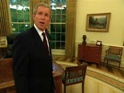 George W. Bush  gives tour of the Oval Office (White House)