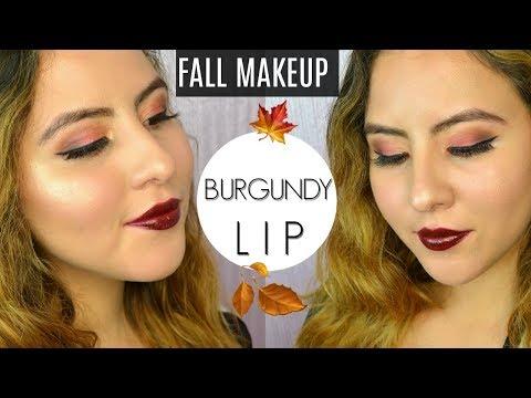 FALL & HOLIDAY MAKEUP LOOK 2017 - Dark Burgundy Lipstick
