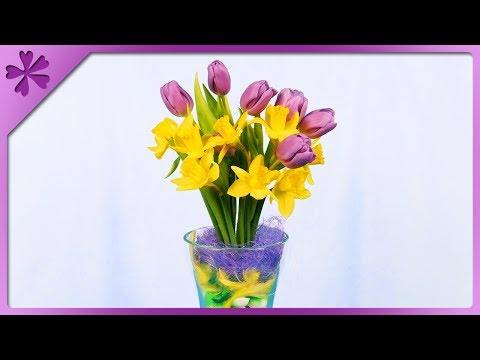 DIY How to make Easter bouquet out of fresh flowers (ENG Subtitles) - Speed up #458