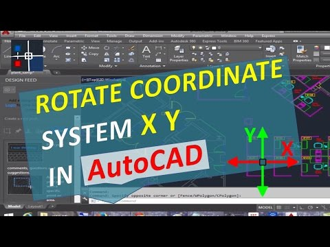 Rotate Coordinate System X Y AutoCAD. Turn Drawing and Change UCS axes