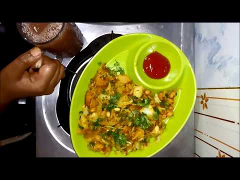 10 Mins Breakfast Recipe Episode 1|Cabbage Bread Aval Poha in Tamil & Grape Juice