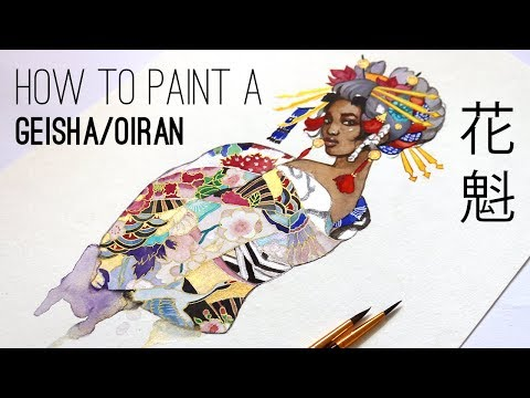 How to paint a Geisha/Oiran with watercolors and mixed media!