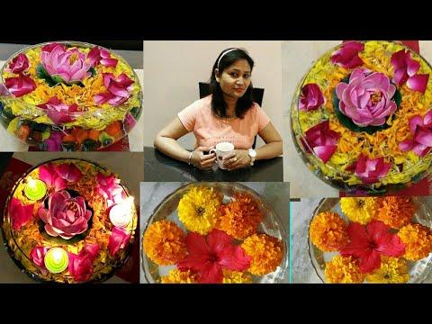 flower decoration,home decor,urli decoration,anvesha,s creativity