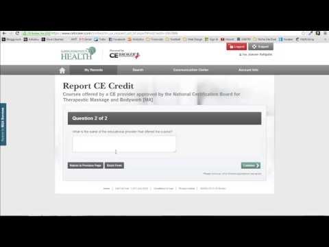 Self-Reporting NCBTMB Hours to CE Broker