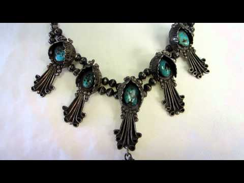 1920s Navajo Sterling Silver Squash Blossom Necklace