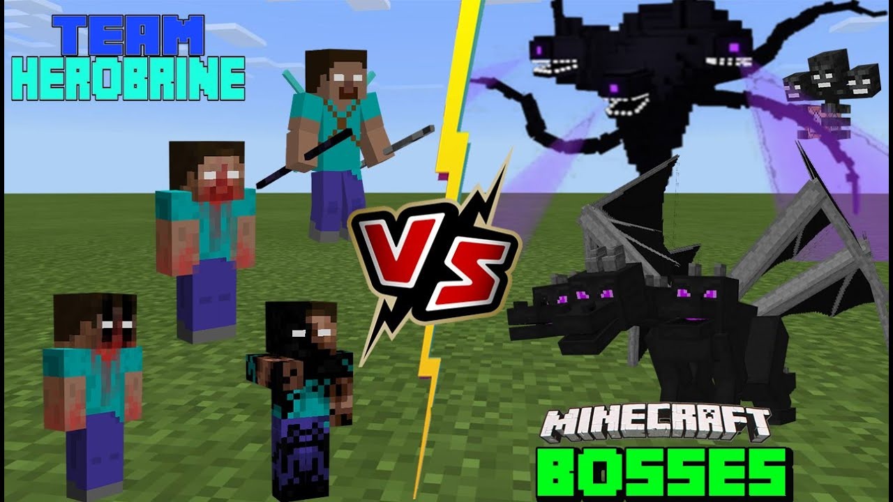 Team Herobrine VS Minecraft & Minecraft Story Mode Bosses (Ender Dragon Titan battles Herobrine)