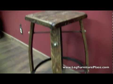 Whiskey Barrel Stave Bar Stool from LogFurniturePlace.com