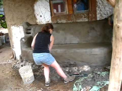 Plastering the Cob Oven and Bench