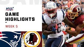 Patriots vs. Redskins Week 5 Highlights | NFL 2019
