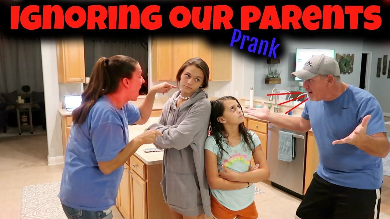 IGNORING our PARENTS PRANK for 24 HOURS! At Home and In Public!   Emma and Ellie