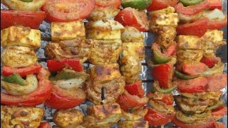 """Delicious PANEER & VEGETABLE TIKKA """"Charcoal Barbecue Shaslik"""" or Oven Roasted (a Vegetarian Recipe)"""