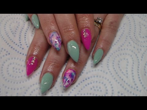 Acrylic Nails | Mint Green | Sharpie Nail Art