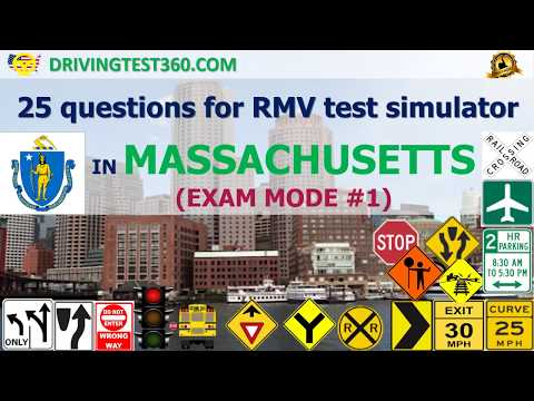 25 questions for RMV test simulator in Massachusetts (Exam Mode #1-3) -  MA RMV practice test