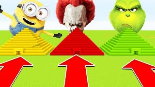 Minecraft : DO NOT CHOOSE THE WRONG PYRAMID (MINIIONS,PENNYWISE,GRINCH) (PS4/XboxOne/PE/MCPE)