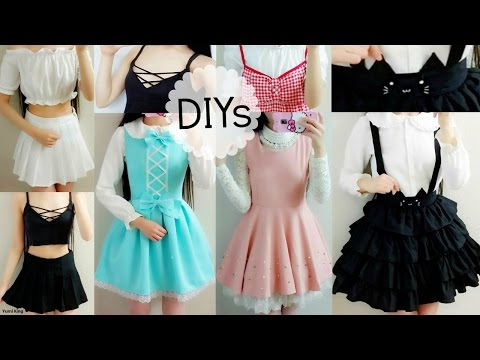 5 Cute DIY Clothes: Cat Suspender Skirt,ladylike/DollLike Dress,Off Shoulder Blouse,Lace up Top