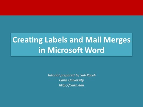 Creating labels and performing a mail merge in Microsoft Word 2010 or 2007