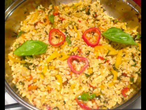 Basil Capsicum rice-Capsicum basil rice-Simla mirch-Bell pepper rice