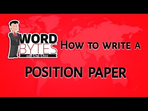 How to write a POSITION PAPER?