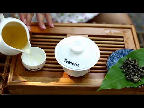 Jasmine Dragon Pearls Green Tea Steeped in Gaiwan - Teasenz