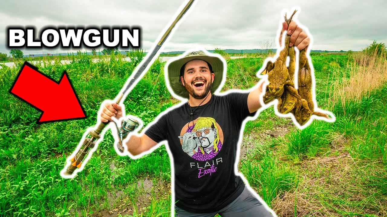BULLFROG Hunting with a HOMEMADE BLOWDART!!! (Catch Clean Cook)