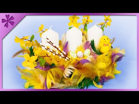 DIY How to make Easter centerpiece out of feathers (ENG Subtitles) - Speed up #461