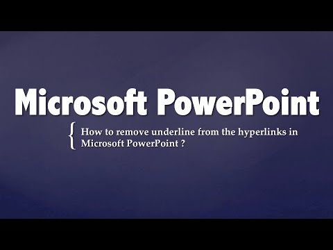 How to remove underline from the hyperlinks in Microsoft Powerpoint ?