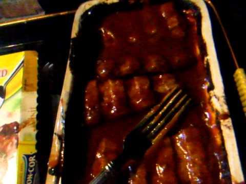 6 Boneless BBQ Pork Ribs in sauce at 3AM with a beer chug ( read full description below )