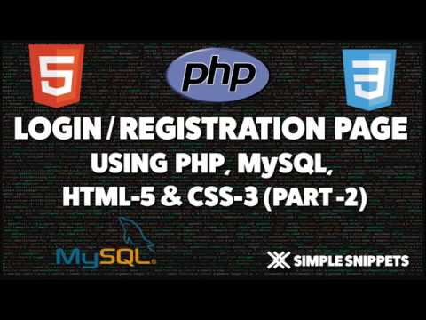 Login and Registration page in PHP and MySQL - Part 2