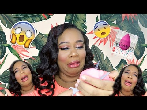CUTTING MY YEAR OLD BEAUTY BLENDER!!?!!