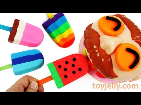 Play Doh Rainbow Watermelon Popsicle Ice Cream Dentist Doctor Drill Big Eater Jackson